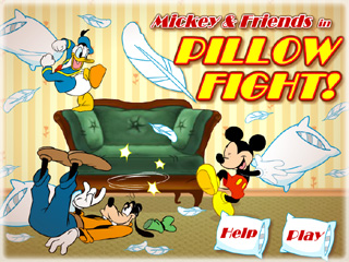 Играть онлайн - Mickey and Friends in Pillow Fight